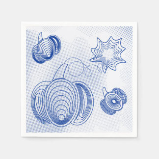 Blue pumpkins pattern with grunge halftones paper serviettes