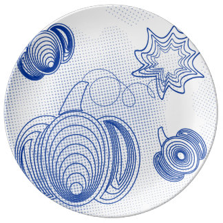 Blue pumpkins pattern with grunge halftones plate