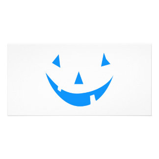 Blue Punkin Face Halloween Design Photo Card