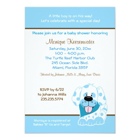 Blue Puppy 5x7 Baby Shower Invitation