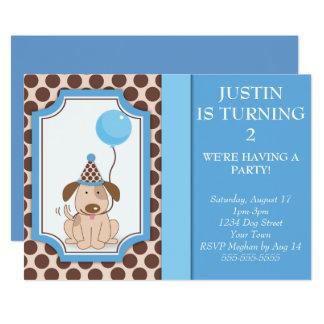 Blue Puppy Party 13 Cm X 18 Cm Invitation Card