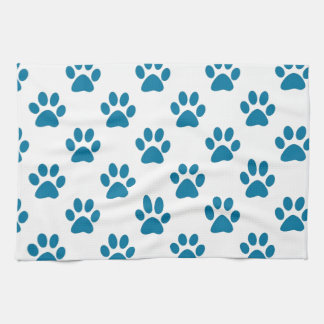 Blue puppy paw prints pattern hand towels