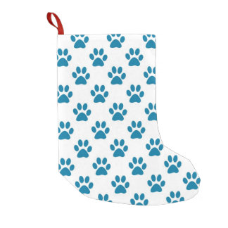 Blue puppy paw prints small christmas stocking