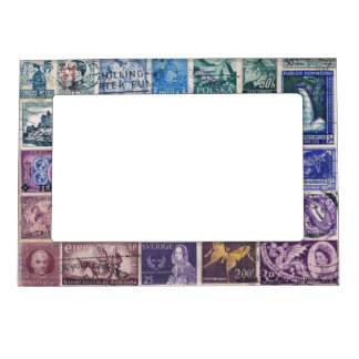 Blue-Purple 1 Postage Stamp Collage, Picture Frame