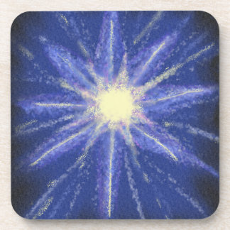 Blue & purple abstract art starburst design coasters