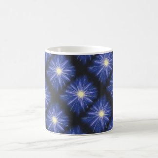 Blue & purple abstract art starburst design coffee mug