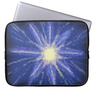 Blue & purple abstract art starburst design laptop computer sleeves