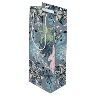 Blue Purple And Pink Flowers Wine Gift Bag