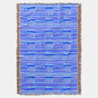Blue, Purple and Turquoise Elephant Pattern Throw Blanket