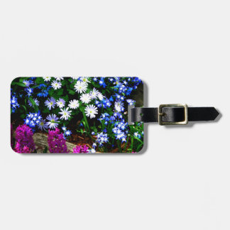 Blue Purple And White Floral Design Products Bag Tag