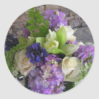 Blue, Purple and White Flowers Round Sticker