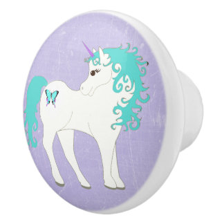 Blue, Purple and White Unicorn Knob