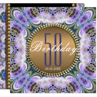 Blue Purple Bohemian 50th Birthday Invitation