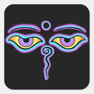 Blue & Purple Buddha Eyes.png Square Sticker