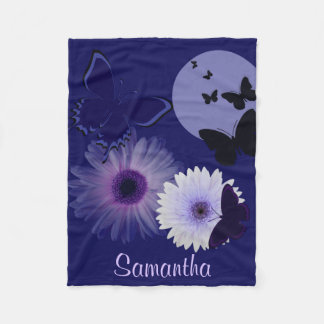 Blue Purple Butterfly and Daisy Personalized Fleece Blanket