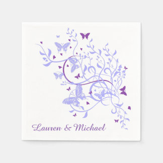 Blue Purple Butterfly Swirl Wedding Disposable Napkin