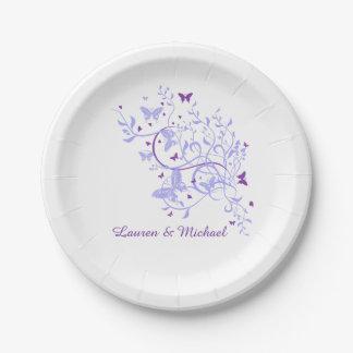 Blue Purple Butterfly Swirl Wedding Paper Plate