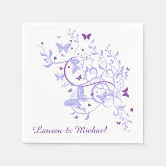 Blue Purple Butterfly Swirl Wedding Paper Serviettes