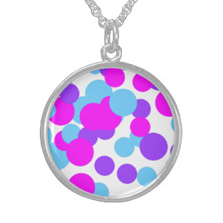 Blue Purple Circle Sterling Silver Round Necklace
