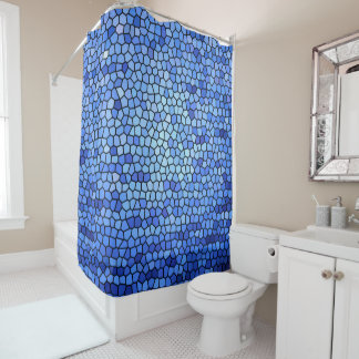 Blue & purple color stained glass pattern shower curtain