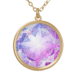 Blue Purple Compass Gemstone Rhinestone Look Gold Plated Necklace