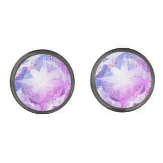 Blue Purple Compass Gemstone Rhinestone Look Gunmetal Finish Cufflinks