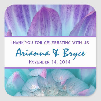 Blue Purple Dahlia Flower Wedding Thank You 004F Square Stickers