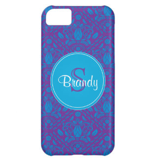 Blue & Purple damask Monogrammed iPhone 5 case