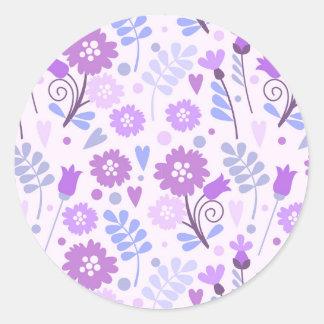 Blue Purple Floral Pattern Round Sticker