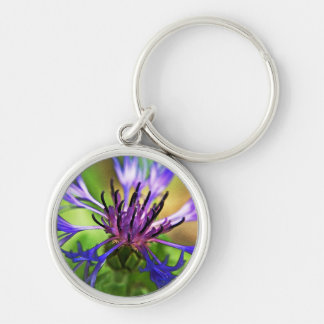 Blue Purple Flower Silver-Colored Round Key Ring