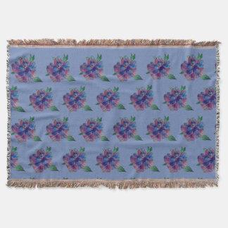 Blue, Purple flower,  Summer MoodArt Throw Blanket