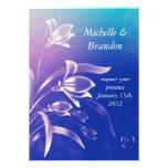 Blue Purple Flower wedding invitation