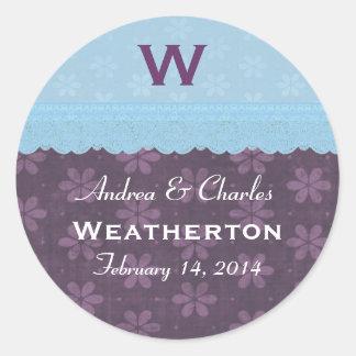 Blue Purple Flowers Lace Monogram Wedding V23 Round Sticker
