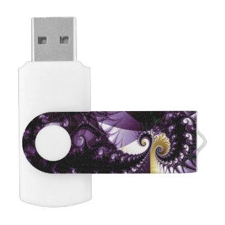Blue Purple Fractal Spikes Swivel USB 2.0 Flash Drive