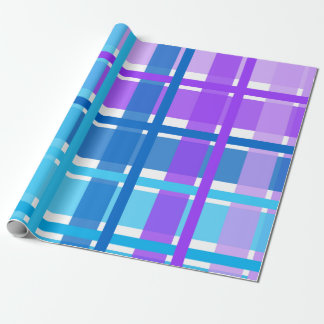 Blue & Purple Gingham Plaid Wrapping Paper