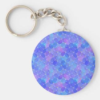 Blue Purple Glass Pentagon Monogram Keychain