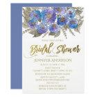 Blue Purple Gold Rose Floral Bouquet Bridal Shower Card