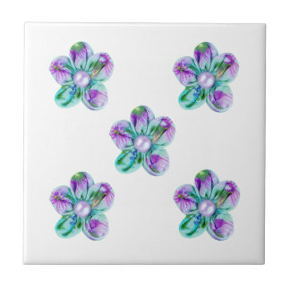 Blue, purple, green flowers for kitchen small square tile
