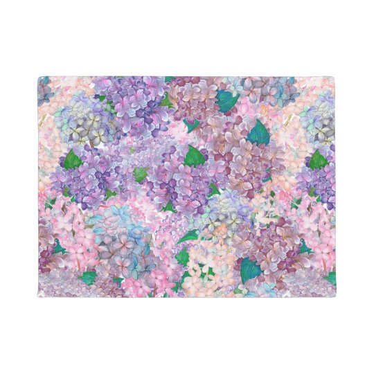Blue Purple Hydrangea and Lilac Doormat