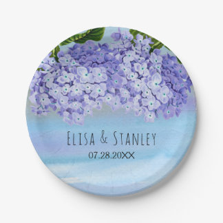 Blue purple hydrangea flowers wedding paper plate