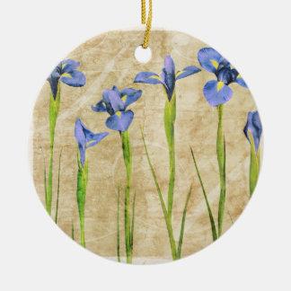 Blue Purple Iris Flowers Brown Background Floral Christmas Ornament