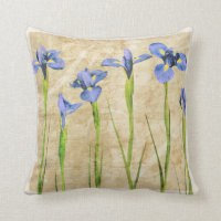 Blue Purple Iris Flowers Brown Background Floral