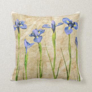 Blue Purple Iris Flowers Brown Background Floral Cushion