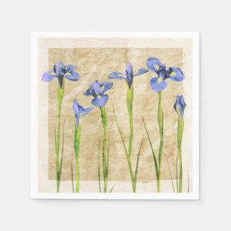 Blue Purple Iris Flowers Brown Background Floral Disposable Serviette