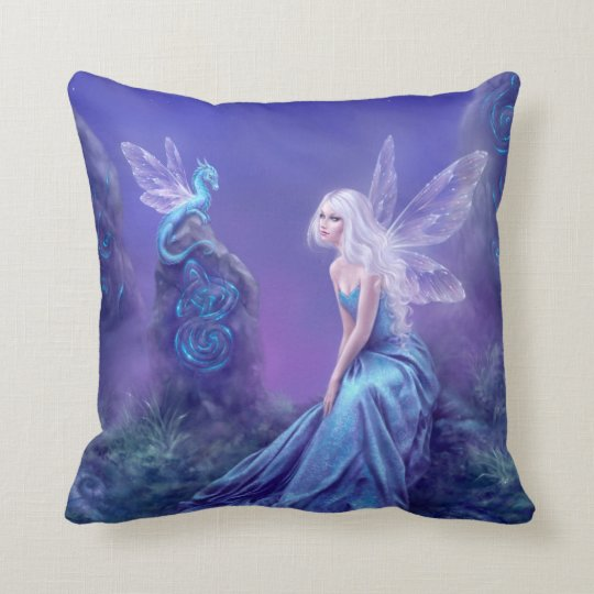 Blue Purple Luminescent Fairy Dragon Throw Pillow