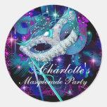 Blue & Purple Masks Masquerade Party Sticker Round Sticker