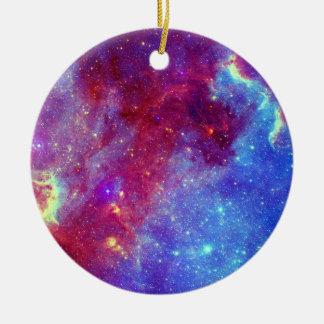 Blue Purple Nebula Ceramic Circle Ornament