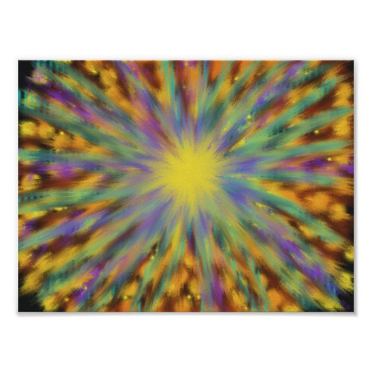 Blue, purple, orange, yellow & green, abstract art