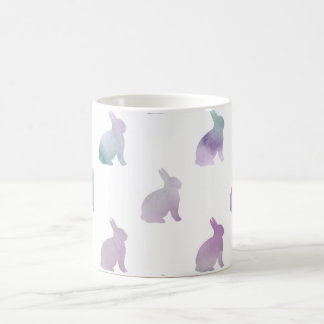 Blue Purple Pastel Watercolor Bunny Background Coffee Mug