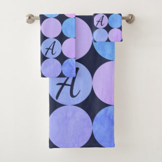Blue Purple & Pink Circles Monogram Bath Towel Set